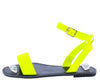 Callan05 Neon Yellow Open Toe Ankle Strap Flat Sandal - Wholesale Fashion Shoes