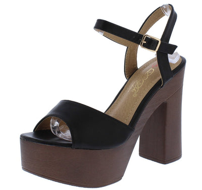 Callista2 Black Peep Toe Ankle Strap Platform Wood Heel - Wholesale Fashion Shoes
