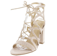 CALLVIN30 BEIGE STRAPPY LACEUP OPEN TOE CHUNKY HEEL - Wholesale Fashion Shoes