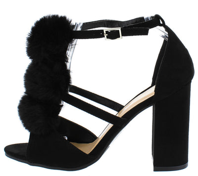 Callvin23 Black Fuzzy Pom Pom T-strap Chunky Heel - Wholesale Fashion Shoes