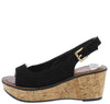 Calvino Black Open Toe Slingback Platform Cork Wedge - Wholesale Fashion Shoes