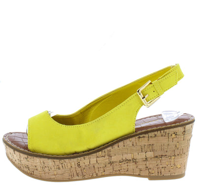 Calvino Yellow Open Toe Slingback Platform Cork Wedge - Wholesale Fashion Shoes