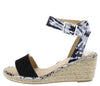 Camaro Black Open Toe Cut Out Ankle Strap Espadrille Wedge - Wholesale Fashion Shoes