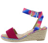 Camaro Fuchsia Open Toe Cut Out Ankle Strap Espadrille Wedge - Wholesale Fashion Shoes