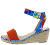 Camaro Orange Open Toe Cut Out Ankle Strap Espadrille Wedge - Wholesale Fashion Shoes
