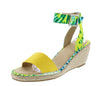 Camaro Yellow Open Toe Cut Out Ankle Strap Espadrille Wedge - Wholesale Fashion Shoes
