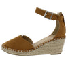 Cambridge Chestnut Almond Toe Ankle Strap Espadrille Wedge - Wholesale Fashion Shoes
