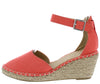 Cambridge Coral Almond Toe Ankle Strap Espadrille Wedge - Wholesale Fashion Shoes