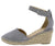 Cambridge Grey Almond Toe Ankle Strap Espadrille Wedge