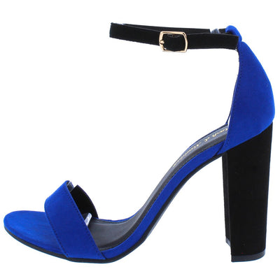 Camden01 Cobalt Black Open Toe Ankle Strap Block Heel - Wholesale Fashion Shoes