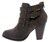 Camila62 Brown Distressed Multi Buckle Stacked Ankle Boot - Wholesale Fashion Shoes