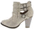 Camila62 Champagne Distressed Multi Buckle Stacked Ankle Boot