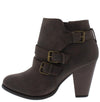 Camila64 Brown Distressed Multi Buckle Strap Stacked Ankle Boot - Wholesale Fashion Shoes