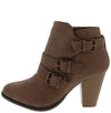 Camila64 Tan Distressed Multi Buckle Strap Stacked Ankle Boot - Wholesale Fashion Shoes