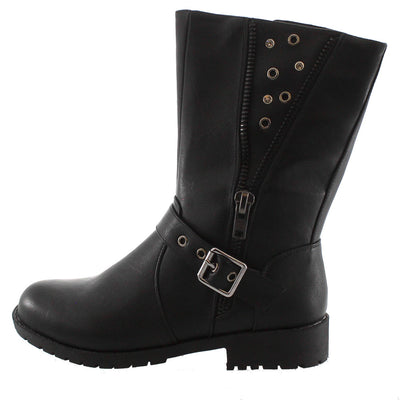 Camilo01 Black Studded Zipper Combat Boot - Wholesale Fashion Shoes