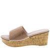 Camilo Blush Sparkle Open Toe Platform Mule Cork Wedge - Wholesale Fashion Shoes