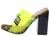 Camryn Lime Square Open Toe Vogue Lucite Mule Block Heel