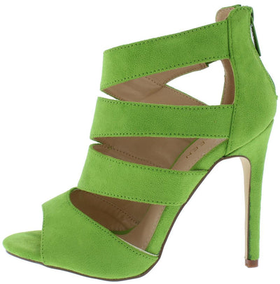 Canan3 Neon Green Slice Cut Out Peep Toe Stiletto Heel - Wholesale Fashion Shoes