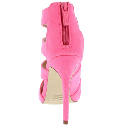 Canan3 Neon Pink Slice Cut Out Peep Toe Stiletto Heel - Wholesale Fashion Shoes