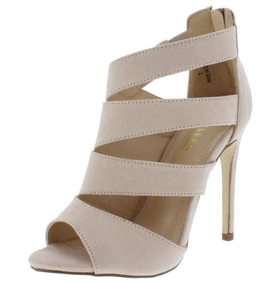 Canan3 Nude Slice Cut Out Peep Toe Stiletto Heel - Wholesale Fashion Shoes