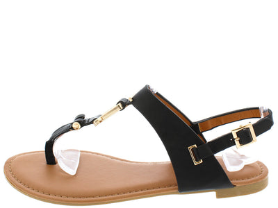 Candice33m Black Pu T Strap Stud Square Detailing Sandal - Wholesale Fashion Shoes