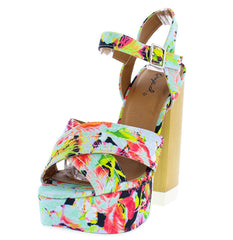 CANNY04A MINT MULTI PLATFORM CHUNKY WOOD HEEL - Wholesale Fashion Shoes