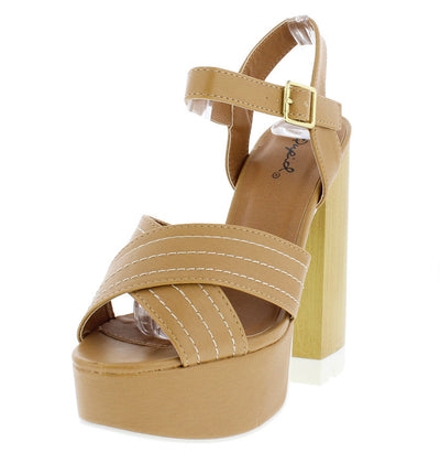 Canny04a Tan Platform Chunky Wood Heel - Wholesale Fashion Shoes
