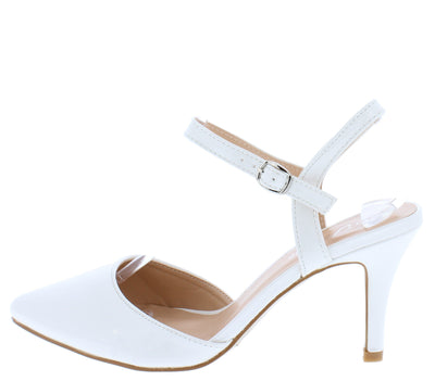 Canty02 White Patent Pointed Toe Slingback Ankle Strap Short Heel - Wholesale Fashion Shoes