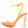 Pearl210 Orange Lucite Open Toe Ankle Strap Block Heel - Wholesale Fashion Shoes