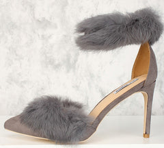 CAPRICA4 GREY POINTED TOE FUZZY TRIM SINGLE STRAP HEEL - Wholesale Fashion Shoes