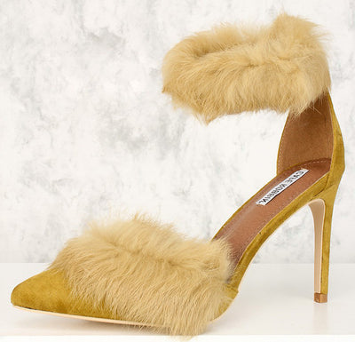 Caprica4 Light Olive Pointed Toe Fuzzy Trim Single Strap Heel - Wholesale Fashion Shoes