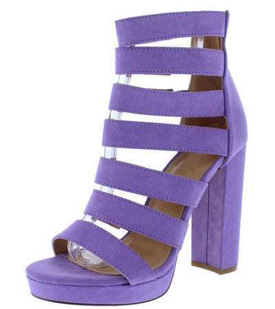 Jayden276 Lilac Strappy Open Toe Low Platform Heel - Wholesale Fashion Shoes