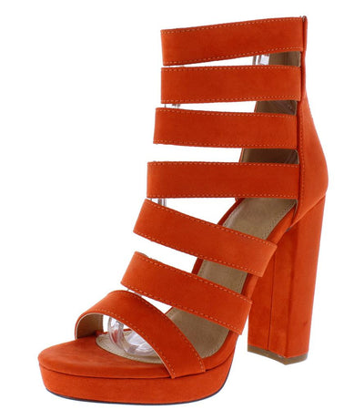 Jayden276 Orange Strappy Open Toe Low Platform Heel - Wholesale Fashion Shoes