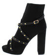 Edith290 Black Studded Cross Strap Platform Boot - Wholesale Fashion Shoes