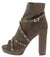 Edith290 Taupe Studded Cross Strap Platform Boot