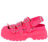 Cardi Pink Multi Buckle Strap Slingback Chunky Lug Flat - Wholesale Fashion Shoes