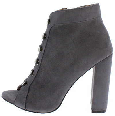 Amelia297 Grey Elastic Eyelet Peep Toe Ankle Boot - Wholesale Fashion Shoes
