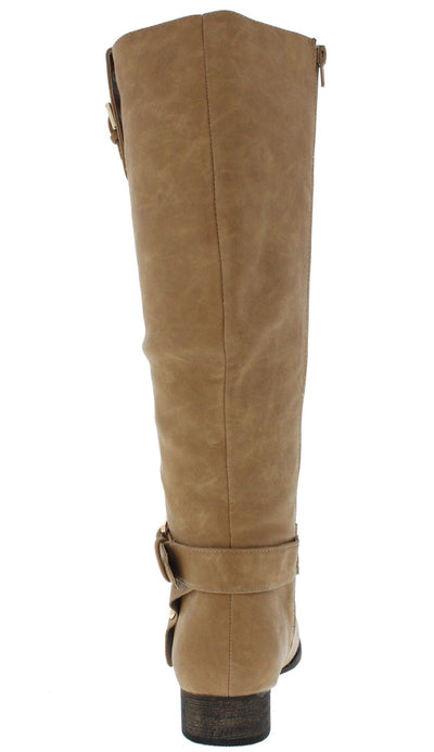 Carison2 Beige Buckle Riding Boot - Wholesale Fashion Shoes