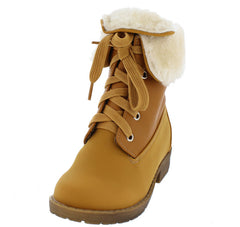 CARLA3K TAN KIDS FUR LINED FOLD OVER LACE UP BOOT - Wholesale Fashion Shoes