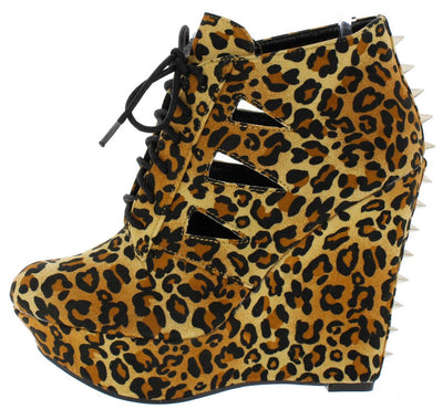 Carlene04 Leopard Laser Cut Spike Stud Lace Up Wedge - Wholesale Fashion Shoes