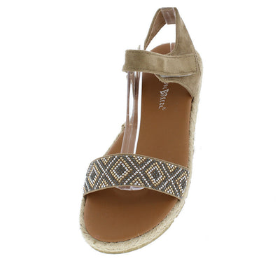 Carly01 Beige Beaded Hemp Rubber Sole Velcro Sandal - Wholesale Fashion Shoes