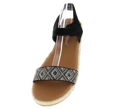 Carly01 Black Beaded Hemp Rubber Sole Velcro Sandal - Wholesale Fashion Shoes