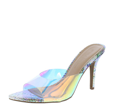Carmel01a Hologram Lucite Pointed Open Toe Stiletto Mule Heel - Wholesale Fashion Shoes