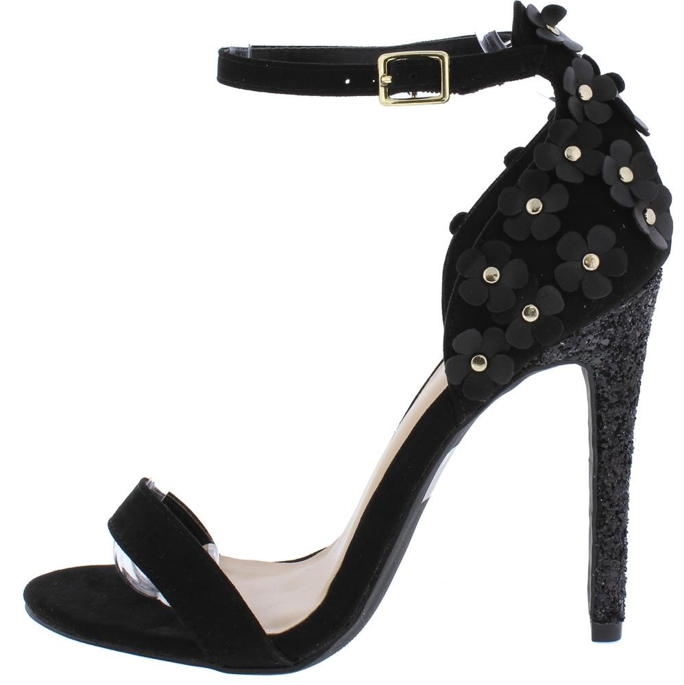 3d150e122 Carmela10 Black Open Toe Rear Flower Cut Out Glitter Heel - Wholesale  Fashion Shoes
