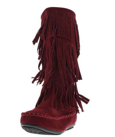 Carmelagx5 Wine Mid Calf Fringe Boot - Wholesale Fashion Shoes