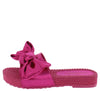 Carmel Fuchsia Tied Bow Open Toe Mule Slide Flat Sandal - Wholesale Fashion Shoes