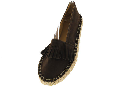 Carmenwl2 Brown Fringe Espadrille Flat - Wholesale Fashion Shoes