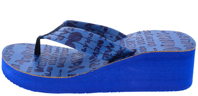 Carmen Blue Cities Print Thong Wedge - Wholesale Fashion Shoes
