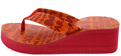 Carmen Red Cities Print Thong Platform Wedge - Wholesale Fashion Shoes