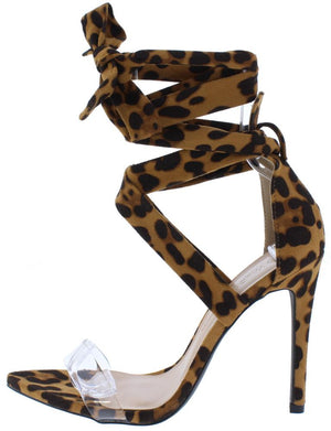 c4fc1d7e2ef0 Carmy14 Leopard Lucite Pointed Open Toe Ankle Wrap Heel - Wholesale Fashion  Shoes